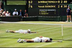 Jo-Wilfried Tsonga (fore) & Novak Djokovic - 2011 Wimbledon Gentlemen's Singles Semifinal