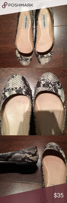 Steve Madden snakeskin flats Steve Madden snakeskin with studs on the top and back of heel. Size 8 Steve Madden Shoes Flats & Loafers