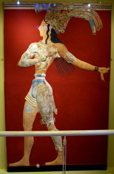 One of the most celebrated Minoan frescos, the Prince of Lillies, from Crete, dated to circa 1550 BC.
