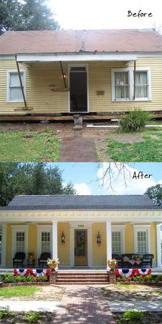A Little Yellow House That's Cheerful Once Again – Living Vintage – Home Renovation Home Exterior Makeover, Exterior Remodel, Home Renovation, Home Remodeling, Yellow House Exterior, Ranch House Remodel, Old House Remodel, House Makeovers, Living Vintage