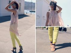 yellow jeans, sheer blouse, nude sunglasses