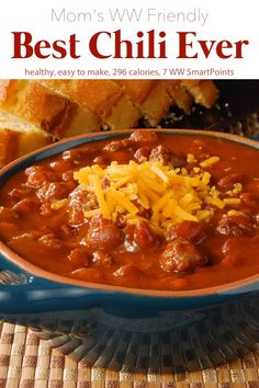 This is the best chili recipe ever that I've made. I used part lean ground sirloin and part Jimmy Dean sausage and canned chili beans. Everyone who tried it gave it high marks for flavor. It was satisfying without being too heavy. Points Plus Recipes, Ww Recipes, Chili Recipes, Popular Recipes, Dinner Recipes, Dinner Ideas, Healthy Recipe Videos, Healthy Recipes, Best Chili Recipe Ever
