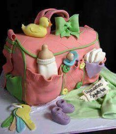 """""""Sweetest Baby Shower Cake ever! """" What a great baby shower idea for the cake! Baby Cakes, Baby Shower Cakes, Gateau Baby Shower, Pretty Cakes, Cute Cakes, Beautiful Cakes, Amazing Cakes, Diaper Bag Cake, Super Torte"""