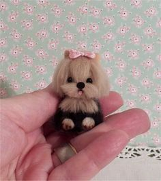 miniature Yorkie totally sculpted and furred not by scrappincindy