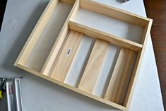 Time for a more organized kitchen! This easy to make custom DIY silverware drawer organizer makes better use of space than a store-bought version! Silverware Drawer Organizer, Kitchen Drawer Organization, Kitchen Drawers, Kitchen Storage, Kitchen Organizers, Kitchen Board, Drawer Organisers, Eco Friendly House, Kitchen Hacks