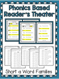 Phonics Based Reader's Theater! These two-page partner plays are ideal to use for guided reading, partner reading, fluency practice, Language Arts, centers, fast finishers, big buddies, etc. Save 20% and Buy the Bundle! Or check out each short vowel pack individually: Short e Word Families Short ...