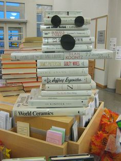 Ghost Book Stack - will be perfect for Halloween next year in the library