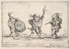 Agostino Mitelli II | Callot figures; a dwarf man playing the drum at left, a beefeater in center, a flute player to right,'Six grotesques' (Six pièces de figures grotesques) | The Metropolitan Museum of Art
