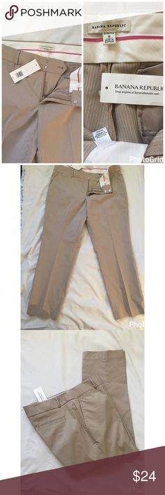 """🌹🌹Banana Republic CROPPED/ ankle Pant 👍🏼 🌹 New tan with white pinstripes cropped/ankle pant. Has front & back pockets. Belt loops, zip up, and hook closure. A little stain can barely be seen.  I'm sure can be washed off. See last pic. Inseam 26"""" waist 34"""" blend if poly/cotton/spandex.🌺🌺🌺 Banana Republic Pants Ankle & Cropped"""