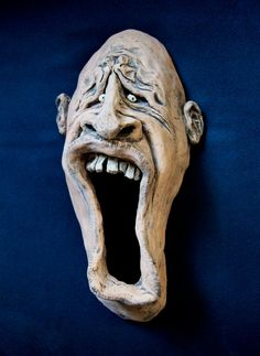 Ceramic Face Wall Sculpture /12 Inch/ Large by blmartinstudios