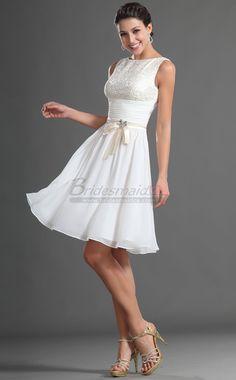 #bridesmaiddress Jewel Neck Short Chiffon White Bridesmaid Dress BD-CA417 - BridesmaidCA.ca