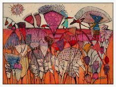 129 Elke Trittel acrylic collage on board 23/30cm