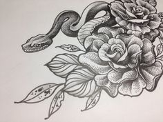 Dotwork  Snake by Sashatattooart