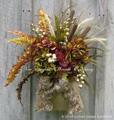 Fall Wall Bouquet, Fall Wreaths, Country French, Autumn Floral Bouquet, Designer, Harvest, Thanksgiving, Halloween Decor