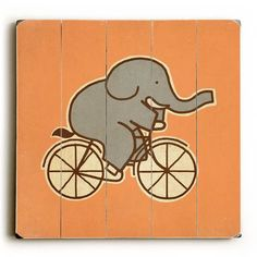 Elephant Cycle Wood Wall Decor by Terry Fan