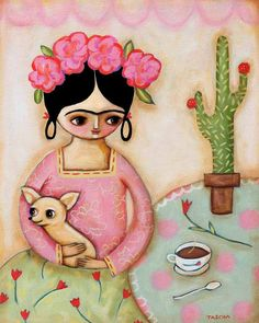 LARGE ORIGINAL Frida Kahlo chihuahua cactus tea portrait painting acrylic on canvas 20x16 by tascha