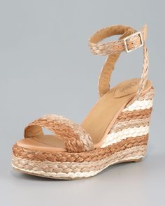 Chloé Halter Ankle Raffia Wedge Sandal in Brown (tan navy) | Lyst