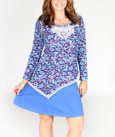 Blue Geometric Lace Asymmetrical Dress #zulily #zulilyfinds