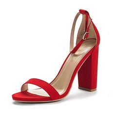 a821d04ea1e DREAM PAIRS Women s Hi-Chunk Red Suede High Heel Pump Sandals - 6.5 M US
