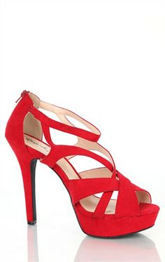 Deb Shops Platform High Heels with Cutout Upper and Open Toe $25.83