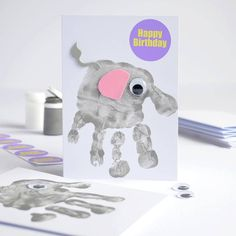 make five handprint elephant cards kit by imagine photowords & craft kits | notonthehighstreet.com