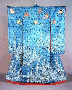 Edo-period Furisode kimono with Yuzen dye technique