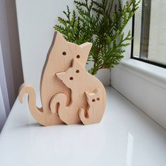 Wooden Puzzle cats – Educational toys – Puzzle Toy – Kids gifts – waldorf wood animals – Wooden cats – cats family- Father's Day gift Rompecabezas de madera gatos juguetes educativos rompecabezas juguete niños Wooden Elephant, Wooden Cat, Easter Gifts For Kids, Kids Gifts, Wood Animals, Tier Puzzle, Wood Crafts, Diy And Crafts, Animal Puzzle
