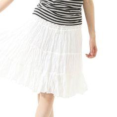 Amazon.co.jp: kobe apparel laboratory 今季のトレンドファッション コットン素材ウエストレースティアードスカート ホワイト: 服&ファッション小物通販