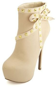 Studded Side Bow Heel Bootie on shopstyle.com