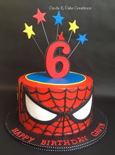 Spider-Man cake made with buttercream By: Cindy K. Cake Creations - Cindy Kah Spider-Man cake made with buttercream By: Cindy K. Cake Creations Spider-Man cake made with buttercream By: Cindy K. Spiderman Birthday Cake, Superhero Cake, Superhero Birthday Party, 6th Birthday Parties, Boy Birthday, Birthday Ideas, Spider Man Birthday, Spider Man Party, Spider Man Cakes