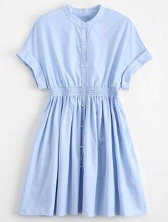 Smocked Waist Button Up Casual Dress - Light Blue - Light Blue S