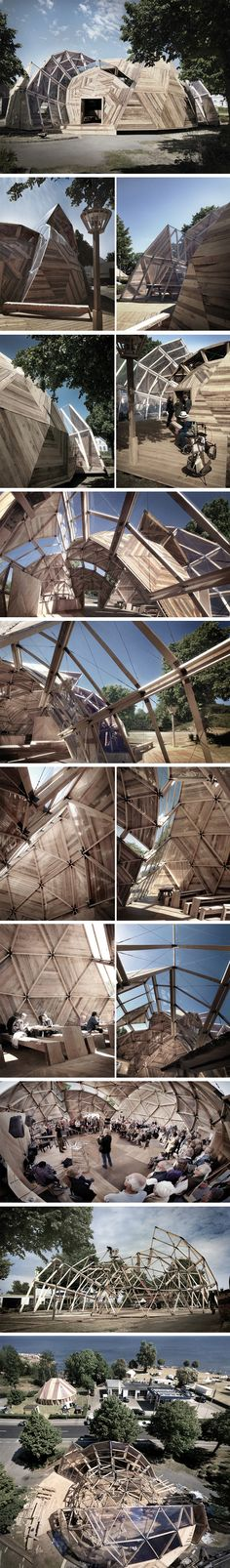 Incredible wooden geodesic dome. Peoples Meeting Dome par Kristoffer Tejlgaard & Benny Jepsen - Journal du Design