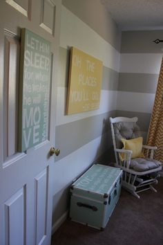 nursery with mint, yellow, grey, stripes and chevron - I know this is a nursery but the stripes would be great for an office room!