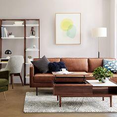 awesome 48 Stunning Modern Leather Sofa Design For Living Room Coastal Living Rooms, Living Room Sofa, Living Room Furniture, Living Room Decor, Bedroom Decor, Coastal Furniture, Furniture Layout, Apartment Living, Sofa Design