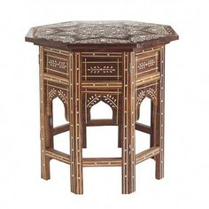 Handcrafted bone inlay in Indian Rosewood, our Moroccan Drum Table will lend Moorish charm to any space. Moroccan Decor Living Room, Morrocan Decor, Morrocan Table, Drum Side Table, Luxury Home Furniture, Farmhouse Wall Decor, Modern Farmhouse, Living Room Flooring, French Country House