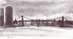 Williamsburg Travels, 2013 Ballpoint on paper SOLD Ballpoint Pen Drawing, Small Drawings, Brooklyn Bridge, Paper, Travel, Pen Drawings, Viajes, Destinations, Traveling