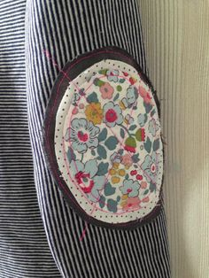 Elbow Patch with pretty floral liberty fabric