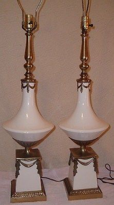 Pair Vintage Westwood Hollywood Regency Lamps Theater/Theatre Drapes/Curtains