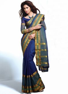 Nice Blue #MadrasCotton #Saree