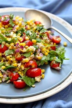 Corn, Italian tomatoes, onion and coriander salad as a side dish to a braai Braai Recipes, Healthy Grilling Recipes, Barbecue Recipes, Cooking Recipes, Barbeque Sides, Bbq, Barbecue Sauce, Braai Salads, Recipes