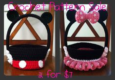 Crochet Pattern SALE: Boy & Girl Mouse Halloween, Trick-or-Treat, Easter, Bag, Basket Pattern