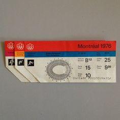 76 Montreal Olympics tickets. Identity by Georges Huel + Pierre-Yves Pelletier. Retro Design, Vintage Designs, Otl Aicher, Ticket Design, Label Design, Design Graphique, Exhibition Poster, Parcs, Mid Century Modern Design