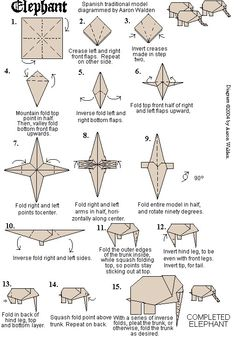 Elephant oragami -- @Audrey Thompson  I'd love to make these into a mobile for the baby