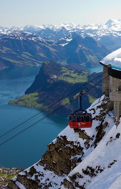 Cable Car to the top of Mount Pilatus with a view of Lake Lucerne, Switzerland.