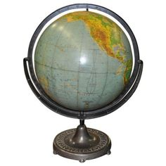 Vintage Globe on Cast Iron Stand C.1920's (764.955 CLP) ❤ liked on Polyvore featuring home, home decor, fillers, decor, blue, furniture, decorative objects, phrase, quotes and saying