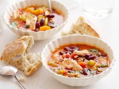 Chicken Stew: carrot, onion, celery, chopped tomatoes, broth, basil, tomato paste, bay leaf, thyme, bone-in chicken, beans