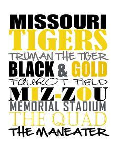 MIZZOU Missouri Tigers Subway Art Typography  by mlewis117 on Etsy, $9.00