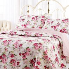 Beautiful Pink Rose Floral Quilt Set Victorian Cottage Bedspread Comforter Chic
