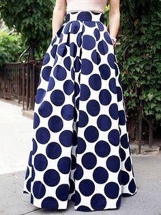 Shop White Contrast Polka Dot Print Maxi Skirt from choies.com .Free shipping Worldwide.$35.9