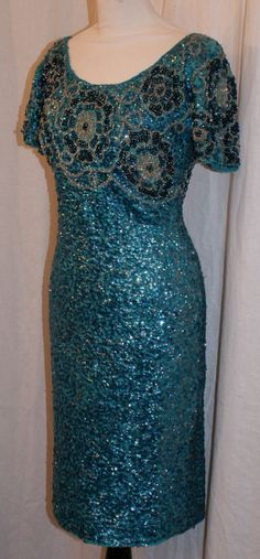 Beautiful Vinatge 1950s blue sequin and beaded by OuterLimitz, £95.00